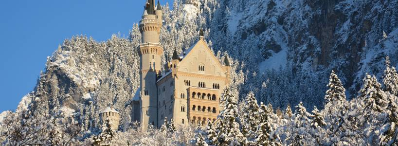 Das Märchenschloss Neuschwanstein im Winter